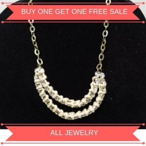Anthropologie NWOT Necklace Rhinestone Chain Woven